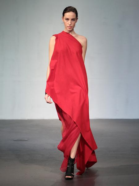 Asymmetrical flannel and silk poncho dress