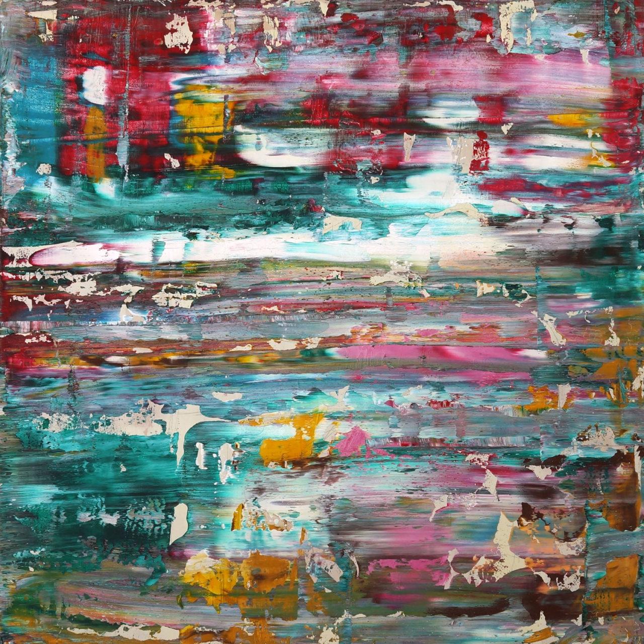 """untitled 20x20x1"""" mvas3203 oil on wood"""
