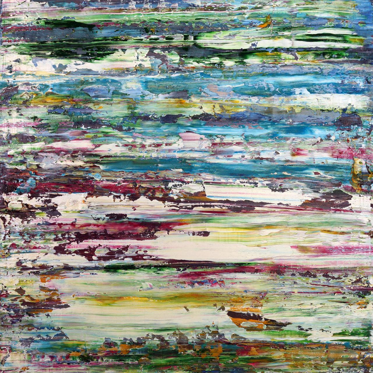 """untitled 20x20x1"""" mvas3201 oil on wood"""