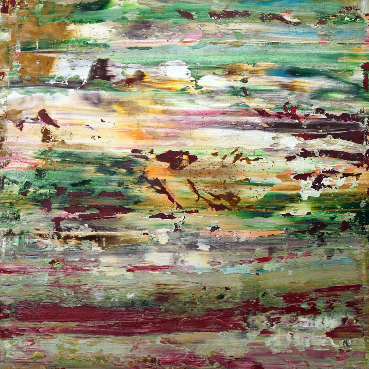 """untitled 20x20x1"""" mvas3202 oil on wood"""